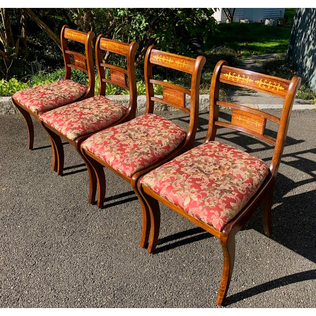 English Traditional 1920s Vintage English Regency Style Brass Inlaid Dining Chairs- Set of 4 For Sale - Image 3 of 13