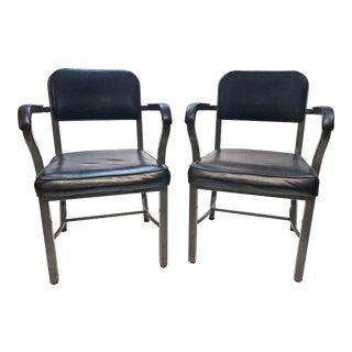 Vintage Sturgis Posture Co Industrial Black Metal Office Chairs - a Pair