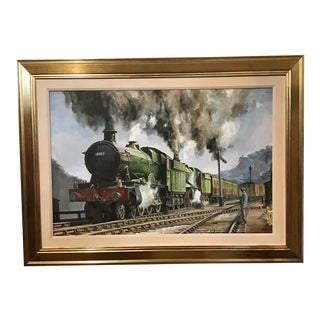 """""""Doubleheading"""" Contemporary English GWR Steam Locomotive Acrylic Painting, Framed For Sale"""