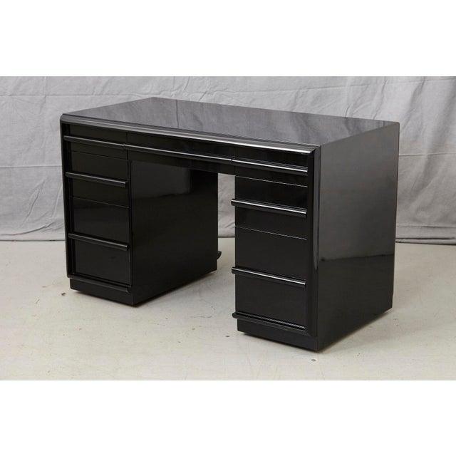 T.H. Robsjohn Gibbings Walnut Kneehole Desk, Ebonized with Brass Pulls For Sale - Image 12 of 12