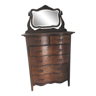 19th Century Victorian Oak Tall Boy Serpentine Dresser With Mirror For Sale