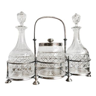 1910s Antique English Silver and Cut Glass Decanter & Ice Bucket Set - Set of 4 For Sale