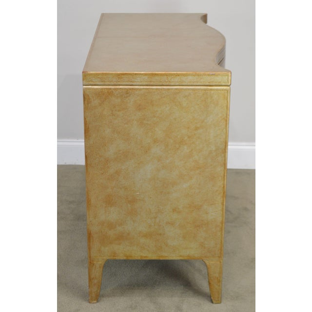 Leather Henredon Hollywood Regency Style Serpentine Silver Leather 2 Drawer Chest For Sale - Image 7 of 13