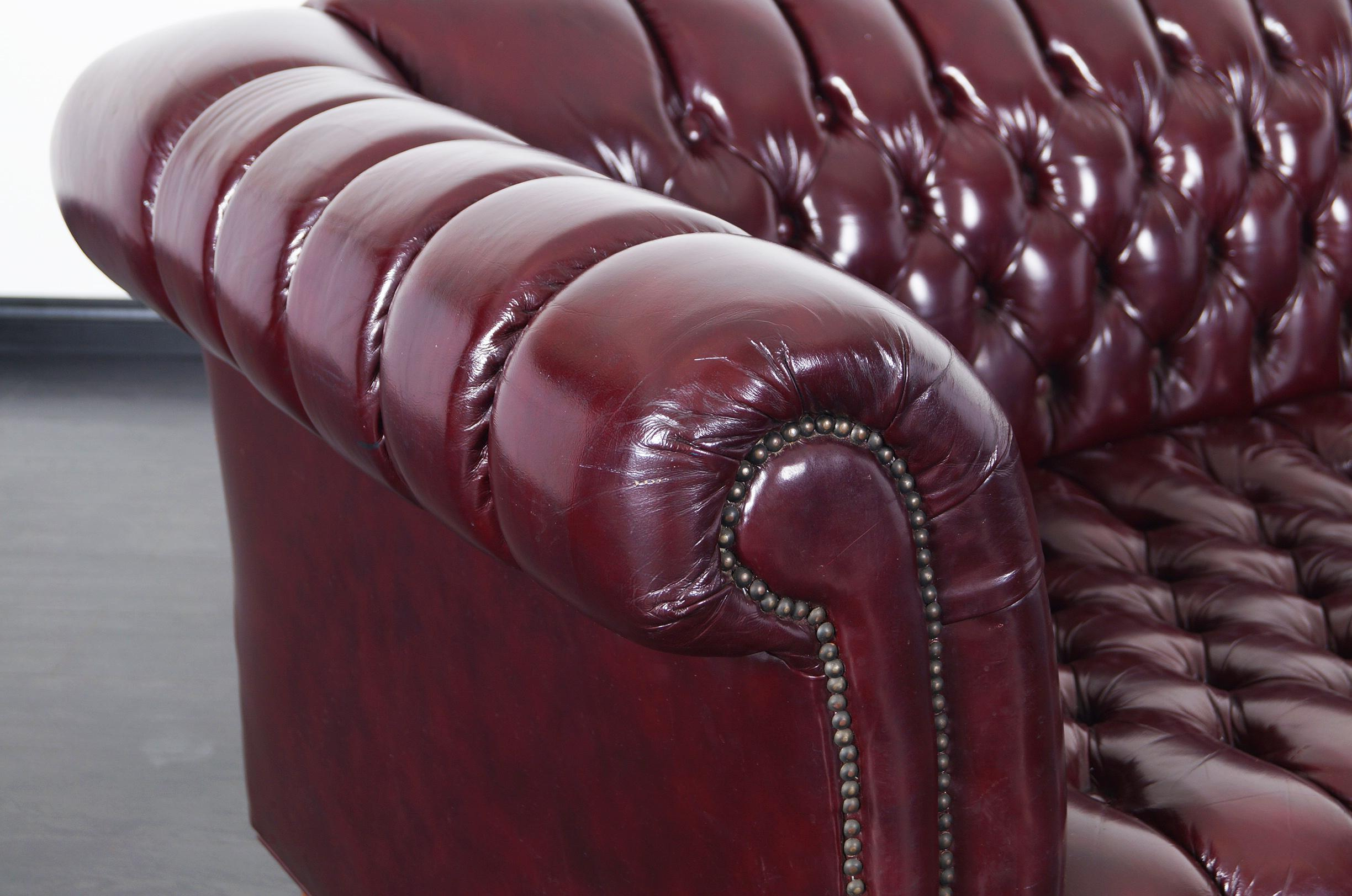 Ordinaire Danish Modern Vintage Burgundy Leather Chesterfield Sofa For Sale   Image 3  Of 6