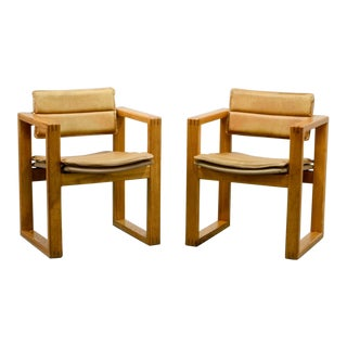 Mid-Century Pair of Dutch Design Camel Leather Cubic Pinewood Side Chairs by Ate Van Apeldoorn for Houtwerk Hattem, 1960s For Sale