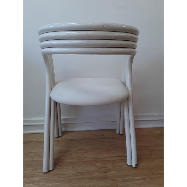 Wood White Painted Dutch Bentwood Armchairs by Jan Des Bouvrie for Rohé Noor - Set of 4 For Sale - Image 7 of 10