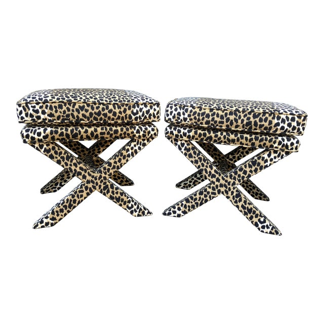 Mid-Century Modern Leopard Suede Upholstered X Benches - a Pair For Sale