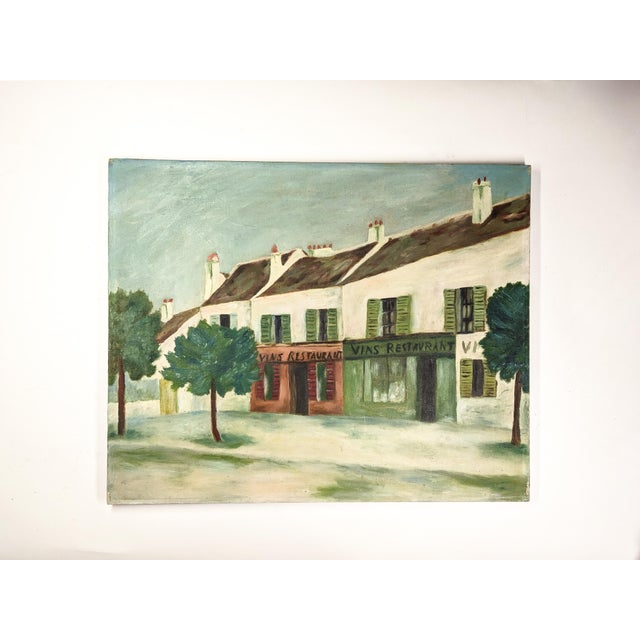 Farmhouse Vintage Oil Painting on Canvas of an Old Street Scene For Sale - Image 3 of 3