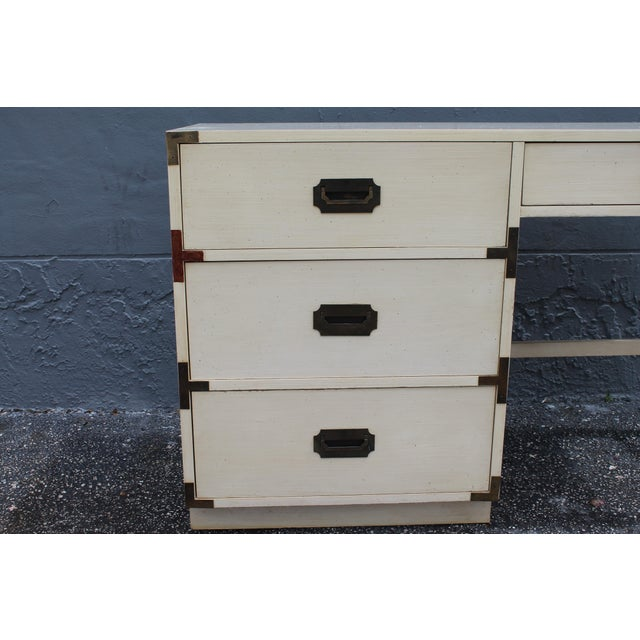 1970's Dixie Mid Century Campaign Writing Desk For Sale In Miami - Image 6 of 11