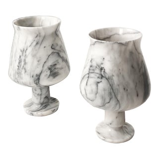 1970s Marble Chalice Form Lamps - a Pair For Sale