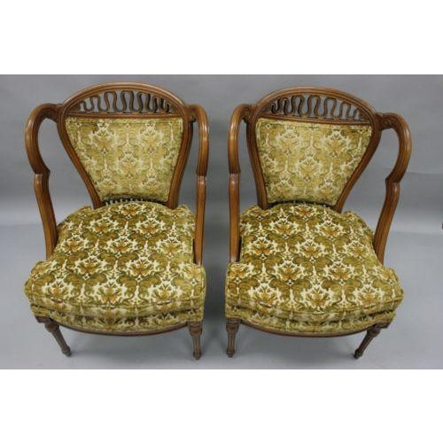Green Pair of Vintage Hollywood Regency French Style Squiggle Loop Back Living Room Chairs For Sale - Image 8 of 11