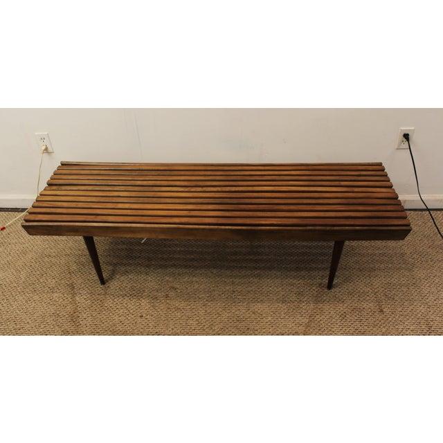 Mid-Century Danish Modern Walnut Slat Bench Coffee Table - Image 5 of 10