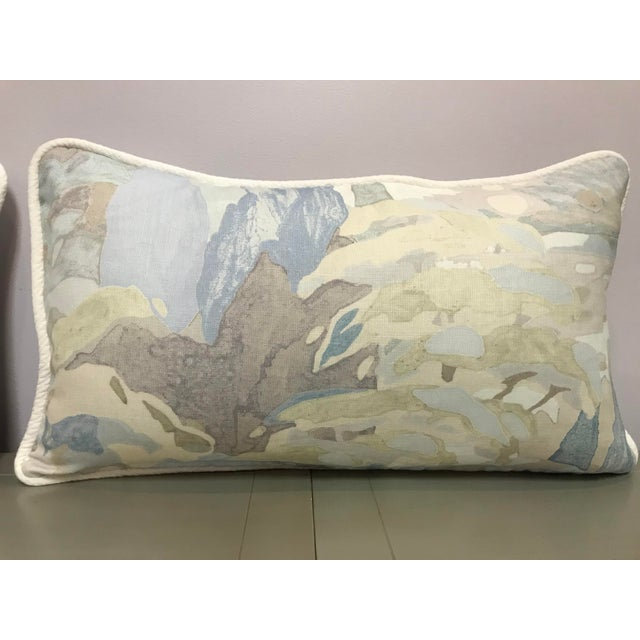 Beacon Hill Beacon Hill Decorative Pillows Soo Locks Frost Pattern on Linen Lumbar Pillows - a Pair For Sale - Image 4 of 9