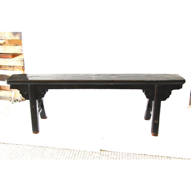 Hand Carved Chinese-Style Black Altar Bench - Image 2 of 8