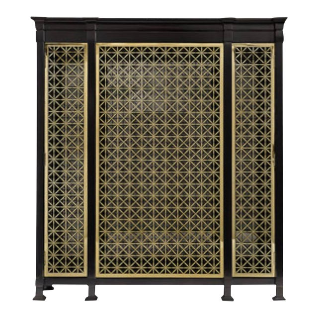 Caracole Modern Black and Gold Display Cabinet For Sale