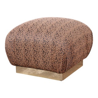 Karl Springer Modern Soufflé Pouf or Ottoman in Leopard Print and Brass, 1970s For Sale