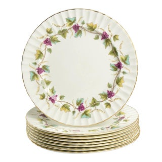 Royal Worcester Bacchanal Grape Dinner Plate Set of 8 For Sale