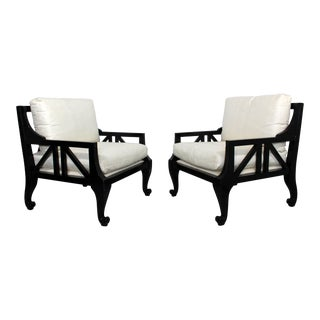 1980s Hollywood Regency Barbara Barry Black Lacquer Armchairs - a Pair