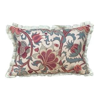 Antique Floral Printed Linen Pillow For Sale