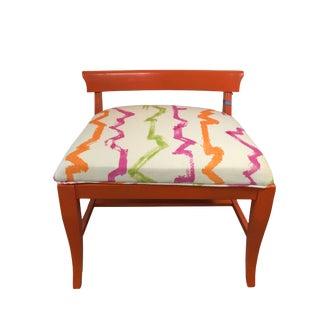 Mid-Century Orange Upholstered Bench