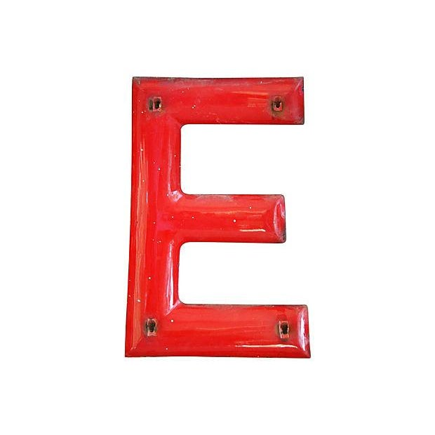 "18"" Large 1950s Red Enameled Porcelain Letter E - Image 4 of 4"