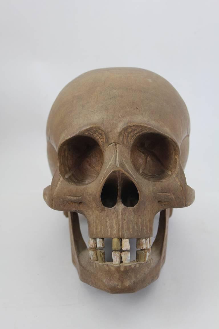 Luxury early th c vintage hand carved wooden skull decaso