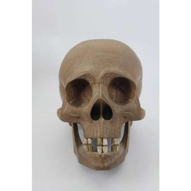 Early 20th C. Vintage Hand-Carved Wooden Skull For Sale - Image 4 of 6