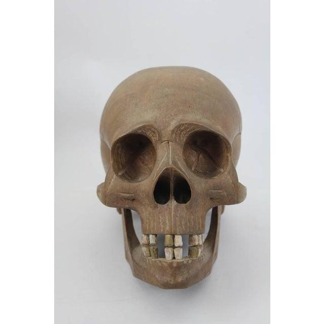 Vintage Hand-Carved Wooden Skull - Image 4 of 6