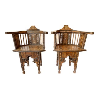 Late 19th Century Syrian Arm Chairs- a Pair For Sale
