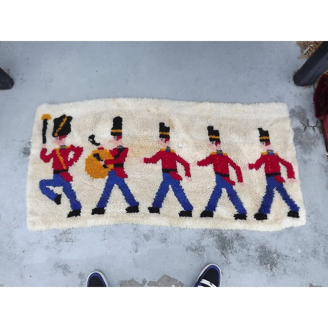 Mid Century Toy Soldier Hooked Rug - 2′1″ × 4′4″ - Image 2 of 5