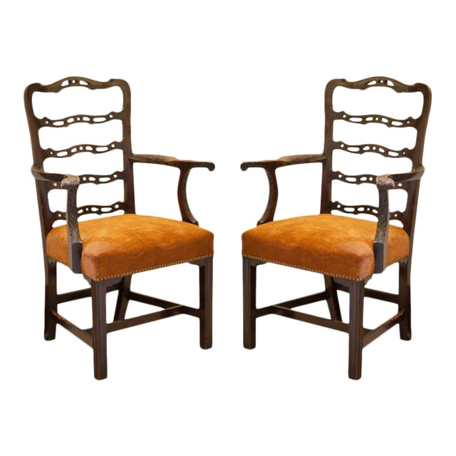 19th Century Vintage Mahogany Ladder Back Chairs- A Pair For Sale
