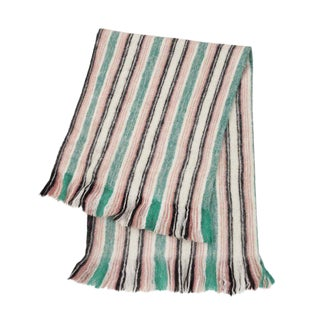 Green & Pink Stripe Fuzzy Blanket
