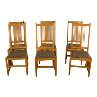 1990s Stickley Mission Oak Arts and Crafts Dining Chairs - Set of 6 For Sale