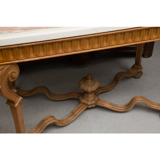 Italian Beechwood Console / Center Table With Marble Top For Sale - Image 12 of 13