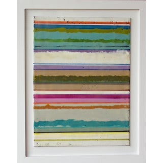 "Original Encaustic Mixed Media Painting by Gina Cochran ""Confections No. 31"" - Stripes For Sale"