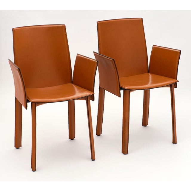 Vintage Modernist Orange Leather Armchairs - a Pair For Sale - Image 9 of 10
