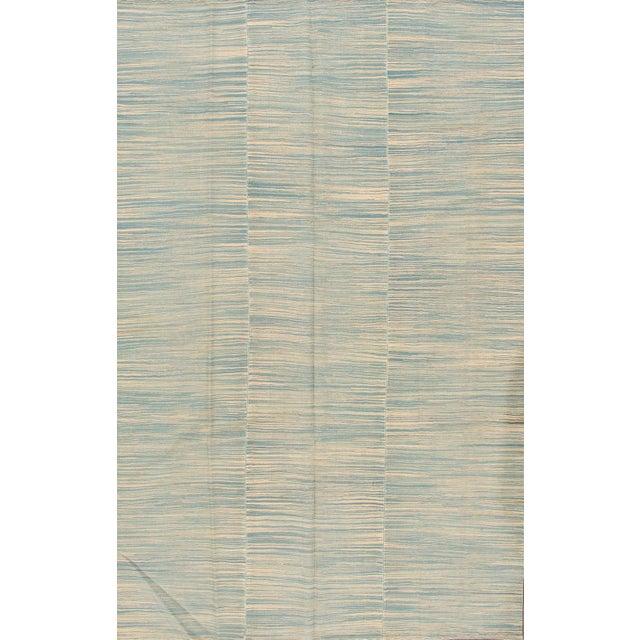 "Apadana - Contemporary Teal/Cream Turkish Kilim Rug, 6'8""x10'11"" For Sale - Image 5 of 5"