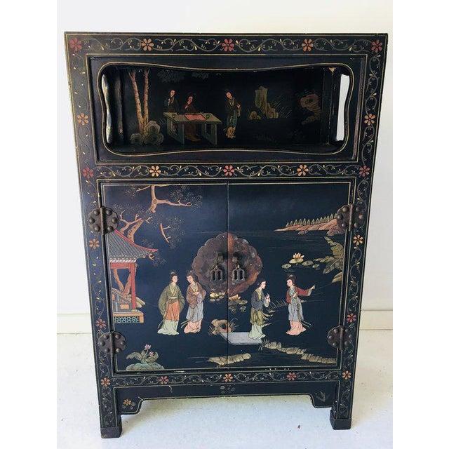 Wood Vintage Asian Style Black Cabinet/Bar/Server For Sale - Image 7 of 7