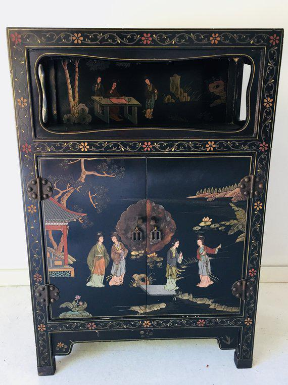 Paint Vintage Asian Style Black Cabinet/Bar/Server For Sale   Image 7 Of
