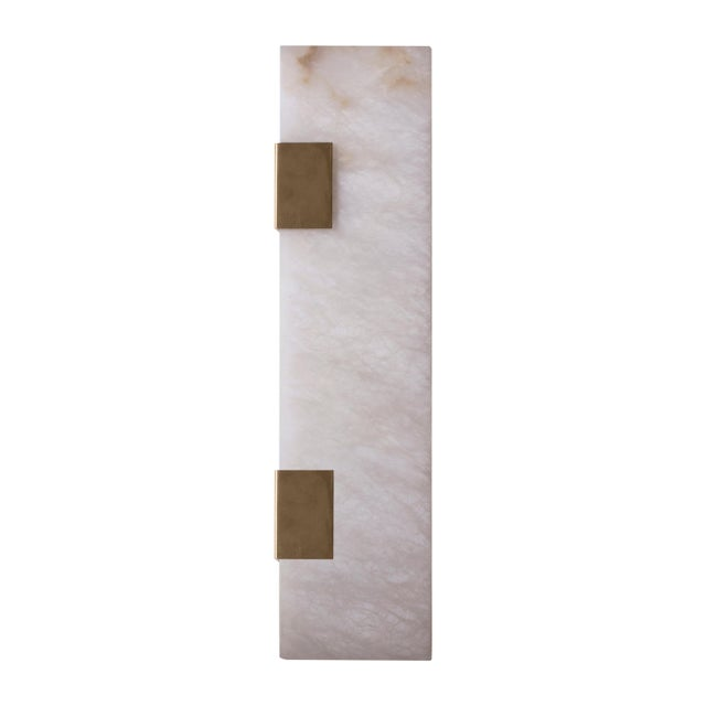 Modern Contemporary 003-2c Sconce in Brushed Brass and Alabaster by Orphan Work For Sale - Image 10 of 10