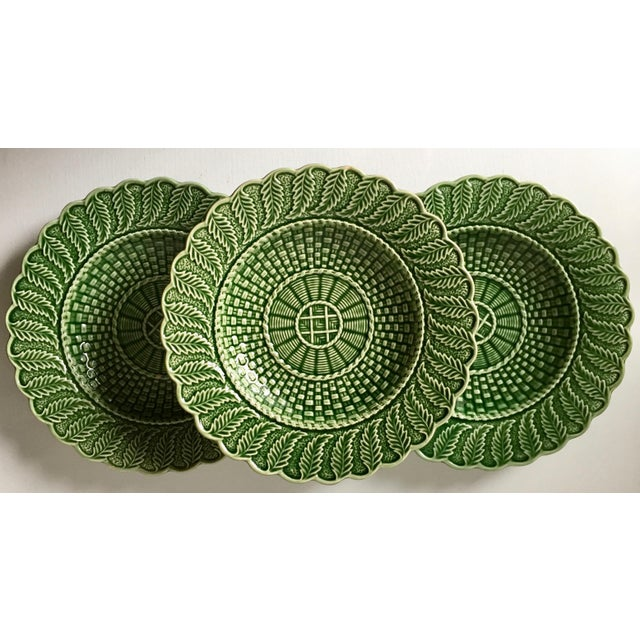 This wonderful set of 6 green Portuguese Majolica dishes feature a basket weave pattern and are made by Bordallo Pinheiro,...
