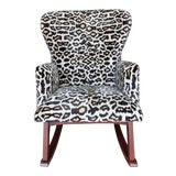 Image of Velvet and Wood Folding Rocking Chair For Sale