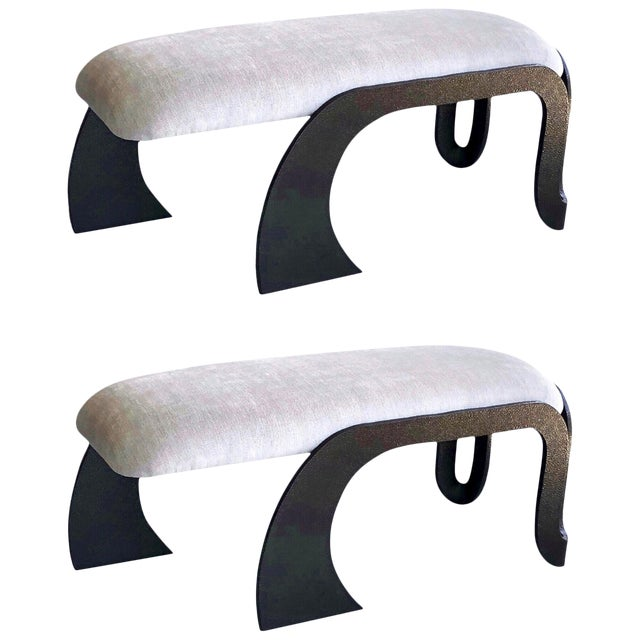 Pair of Abstract Modern Heavy Bronze Enamel Benches Ottomans, 1980s For Sale