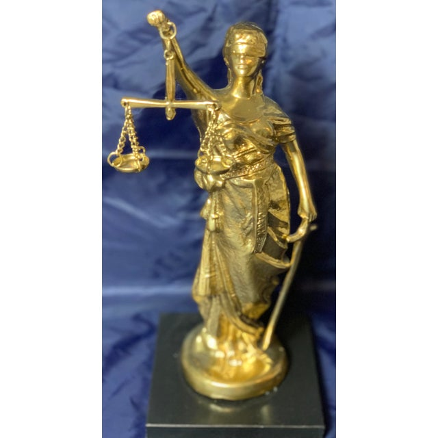 Vintage Blind Justice Gold Metal figurine. A very cool styling element.