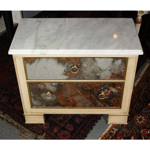 Hollywood Regency Mid-Century Marble Top Nightstands - A Pair For Sale - Image 3 of 4