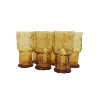 Mid Century Vintage Amber Glassware Set For Sale