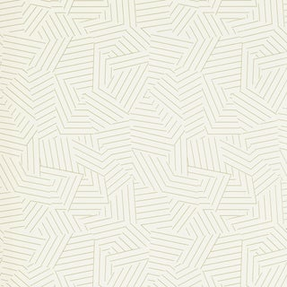 Schumacher Deconstructed Stripe Wallpaper in Greige For Sale