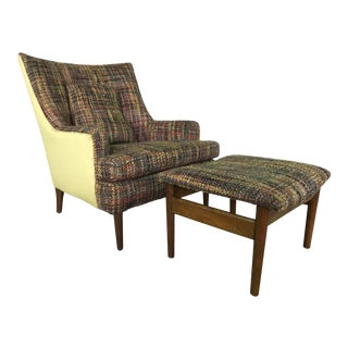 Lawrence Peaboby for Richardson / Nemschoff 1960s Mid Century Modern Scandinavian High Back Lounge Chair Model 9203 and Ottoman For Sale