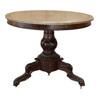 19th Century French Napoleon III Period Marble Top Mahogany Center Table For Sale