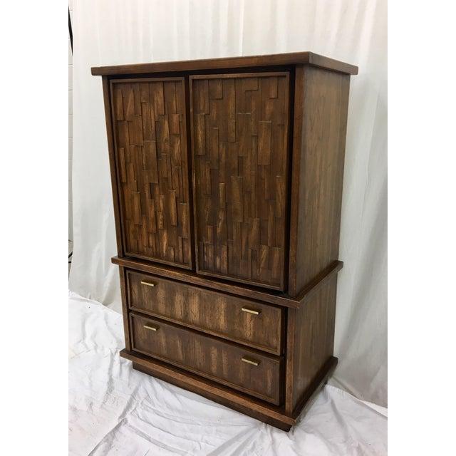 Vintage Mid-Century Brutalist Armoire Dresser - Image 3 of 8